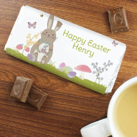 Personalised Easter Meadow Bunny Milk Chocolate Bar